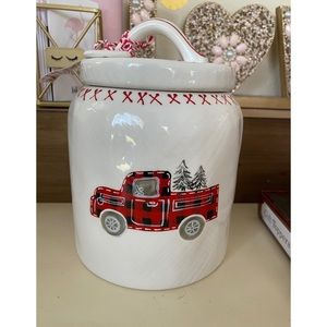Strawberry Street Plaid truck Christmas canister